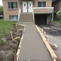 newly constructed of cement layer in front of house