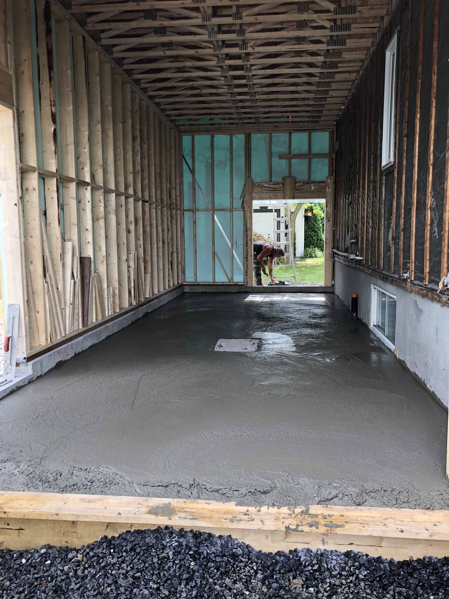 cement layer is ready for fixing slabs